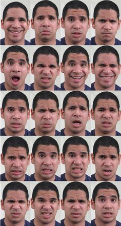 """Researchers at The Ohio State University have found a way for computers to recognize 21 distinct facial expressions—even expressions for complex or seemingly contradictory emotions such as """"happily disgusted"""" or """"sadly angry. Human Face Drawing, Realistic Eye Drawing, Drawing Eyes, Woman Drawing, Facial Expressions Drawing, Emotion Faces, Face Study, Emoticons, Human Figures"""