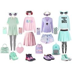 Pastel Goth is one of the newer Goth subsets. It usually features pastel colors mixed with black and white and galaxy prints. Clothing consists of baggy sweater. Pastel Punk, Pastel Goth Fashion, Pastel Grunge, Kawaii Fashion, Cute Fashion, Gothic Fashion, Fashion Outfits, Grunge Outfits, Soft Grunge
