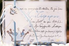 Little king's handwritten baptism invitation with according drawings and blue stardust Little King, Little Boy And Girl, Little Boys, Boy Or Girl, Romantic Mood, Boy Baptism, Baptism Invitations, Parties, Drawings