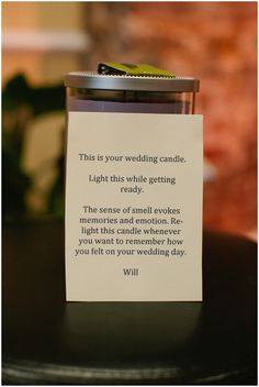 Wedding Candle for Wedding Day from Groom to Bride. Relight candle whenever you want to remember what you felt like on your wedding day Such a cute idea! Wedding Gifts For Bride, Bride Gifts, On Your Wedding Day, Wedding Bells, Dream Wedding, Bridesmaids 2011, Bride And Prejudice, Present For Groom, Marry Me