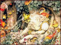 """""""Fiddlehead Grove""""  ~ Daniel Merriam ~ Watercolorist Extraordinaire ~These short-wide pictures look especially good when you click on them, and if you click on the large view it'll take you to a full-screen view. ~ Miks' Pics """"Daniel Merriam l"""" board @ http://www.pinterest.com/msmgish/daniel-merriam-l/"""