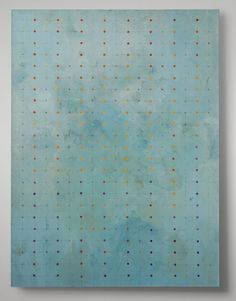 "Meryl BlinderDot Array (with sgraffito)oil, pencil, scratched lines on canvas, 48"" x 36"""