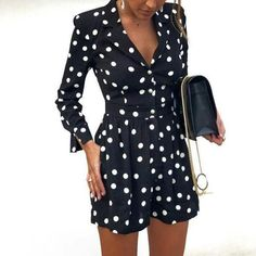 429d772fc5c Casual V Neck Jumpsuits for Women Rompers Polka Dot Printed Playsuits Long  Sleeve Short Overalls For