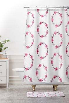 Buy Shower Curtain And Mat with Pink Wreaths designed by Morgan Kendall. One of many amazing home décor accessories items available at Deny Designs.