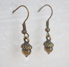 Bronze Acorn Earrings Small Acorn Earring by NewJewelleryStory