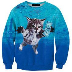 Cloudstyle New 2017 3D Men's Sweatshirts Longsleeve Crewneck Tops Dollars Cat Jumple Print Autumn Pullover Plus Size 5XL  #Affiliate