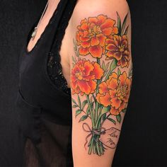 19 Marigold Flower Tattoo Ideas For Anyone With an October Birthday Tattoos For Kids, Mom Tattoos, Wrist Tattoos, Body Art Tattoos, Small Tattoos, Sleeve Tattoos, Tattoos For Women, Inkbox Tattoo, Marigold Tattoo