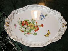 Meissen Porzellan Schleifenplatte oval mit Goldrand