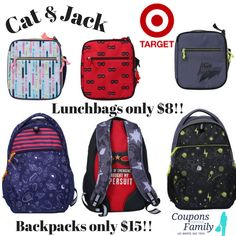 Back to School Deals: Target's Cat and Jack Lunchbags only $8 and Backpacks $15!! - http://www.couponsforyourfamily.com/cat-and-jack/