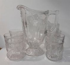 "EAPG ""Fleur-De-Lis & Drape"" aka ""Fleur-de-lis and Tassel"" pattern Pitcher & 4 Glasses, made by Adams & Co. circa 1889-1890, no measurements."