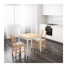 LERHAMN Table, light antique stain, white stain