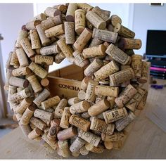 Wine Cork Wreath ~ Make it your own by adding ribbon, grape vine, string lights, paint, etc.