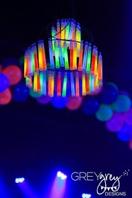 Great ideas...Glow Stick Chandelier GreyGrey Designs: Underground neon new years party idea @Tiffany Hammer