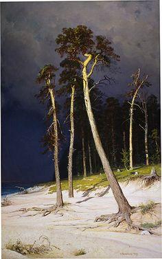 Ivan Shishkin (Ru. 1832 – 1898), A sandy coastline, 1879, huile sur toile, 134,6x 83,8 cm, French and Company, New York