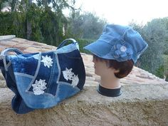 Purse jeans with patchwork flowers flap