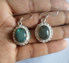 Natural Labradorite Loose Gemstone Earring Oval Shape Set in 925 Silver Metal #HAYAATGEMS #DropDangle
