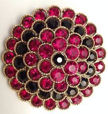 "BEAUTIFUL VINTAGE 2"" RUBY RED AND BLACK RHINESTONE BROOCH / PIN SIGNED BY LISNER"