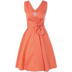 Bowknot Polka Dot Swing Fit et Flare Dress - Orange Rose S Latest Dress For Women, Casual Dresses For Women, Nice Dresses, Vintage Dresses For Sale, Robes Vintage, Red Polka Dot Dress, Dress Red, Polka Dots, Stitch Fix Dress