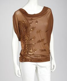 Take a look at this Rust Drain Sequin Drape Top by Illa Illa on #zulily today! $19.99, regular 36.00