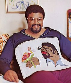 """Roosevelt """"Rosey"""" Grier and his needlepoint. After Grier's pro football career (a member of the Fearsome Foursome), he worked as a bodyguard for Robert Kennedy during the 1968 presidential campaign and was guarding the senator's wife, Ethel, during the RFK assassination. Although unable to prevent that killing, Grier took control of the gun and subdued the shooter, Sirhan Sirhan."""