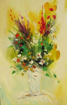 ORIGINAL Oil Painting A Little Piece of Summer 36 X 23 Palette Knife Colorful Flowers Green Vase Arrangement Yellow Red ART by Marchella