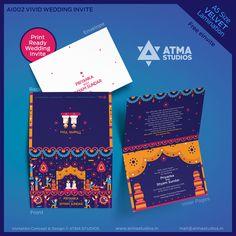 Vivid Wedding Invite Design by Atma Studios, Coimbatore, Tamil Nadu, India. Wedding Invitation Packages, Indian Wedding Invitations, Wedding Invitation Design, Invite Design, Invitation Card Design, Coimbatore, Indian Wedding Cards, Wedding Prep, Wedding Ideas