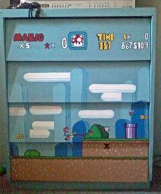 Hand painted SNES Mario Dresser Nintendo Furniture