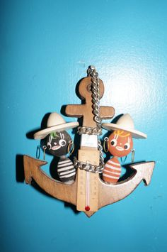 vintage  thermometer souvenir anchor nautical wall hanging exotic kitsch