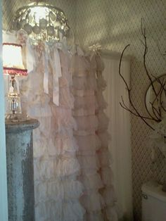 Pink ruffle shower curtain for girls bathroom Shabby Chic Cottage, Vintage Shabby Chic, Shabby Chic Homes, Vintage Roses, Shabby Chic Decor, Vintage Decor, Pink Ruffle Curtains, Girls Room Curtains, Ruffles