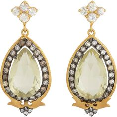 Sara Weinstock Green Amethyst & Diamond Drop Earrings