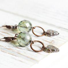 Moss Green Earrings  Green Leaf Earrings with by OnePrettyDaisy
