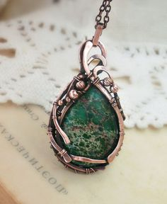 Green copper necklace, Wire wrapped necklace,copper jewelry, Green variscite necklace