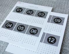 Minimalist printable black-and-white calendar