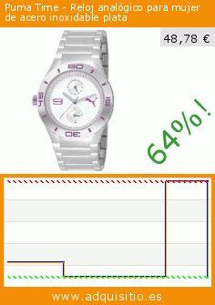 Puma Time - Reloj analógico para mujer de acero inoxidable plata (Reloj). Baja 64%! Precio actual 48,78 €, el precio anterior fue de 136,80 €. http://www.adquisitio.es/puma-time/reloj-analógico-muj