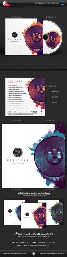 Hell Trap - Music CD Cover Artwork Template  — PSD Template #podcast #techhouse…