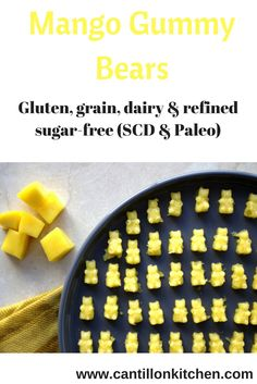 Healthy mango gummy bears free from: gluten, grains, dairy, refined sugar and other nasties. Scd Recipes, Health Recipes, Paleo Honey, Against All Grain, Specific Carbohydrate Diet, Gummy Bears, Sugar Free, A Food, Food Processor Recipes