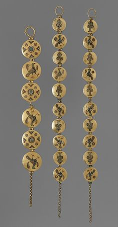 Chain with Birds and Geometric Motifs. 1000–1200. Made in, Kiev (probably). Culture: Kievan Rus'. Cloisonné enamel, gold. Chains, called riazni, were created from small cloisonné enamel medallions. The chains may have joined layers of dress, been worn as necklaces or bracelets, or used to suspend circular or crescent-shaped pendants known as temple pendants or kolti.