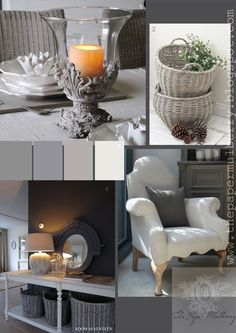 stone effect candle sconce, grey-wash wicker baskets and heavenly French styled furniture - The Paper Mulberry: Essentially French!