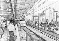 Shinkansen in Osaka, Japan by One Perspective Drawing, One Point Perspective, Perspective Art, Human Figure Sketches, Figure Drawing, Architecture Concept Diagram, Drawing Architecture, Pencil Sketches Landscape, Train Drawing