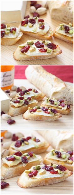 Cranberry Orange Brie Crostini with Pistachios Recipe on twopeasandtheirpod.com. An easy and festive holiday appetizer!