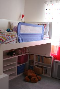 Cute idea for a loft bed for a kids room - great for extra storage in a small room - uses all ikea furniture pieces