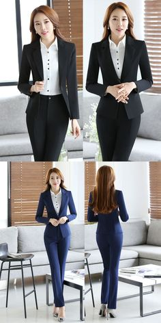 New Arrival Slim Fashion 2016 Professionan Formal Female Pantsuits With Blazer Pants Ladies Trousers Sets Women Pants Suits Office Outfits Women, Business Casual Outfits, Business Dresses, Trousers Women Outfit, Pants For Women, Clothes For Women, Fashion 2016, Fashion Outfits, Womens Fashion