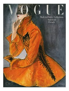Illustration Photograph - Vogue Cover Featuring A Woman In An Orange Coat by Rene R. Vogue Vintage, Vintage Vogue Covers, Vintage Fashion, 1940s Fashion, Vogue Magazine Covers, Fashion Magazine Cover, Poster Vintage, Vintage Art, Vintage Magazines
