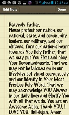 PRAYER for Our Nation, Our Leaders, Military and Citizens that we may Honor and Acknowledge Our Holy Father Abba because He has been so very good to US ALL.