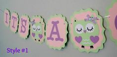 Owl Party/ It's a Girl Banner/Girl Banner/Baby by Klutterella