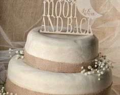 Rustic Cake Topper, Wood Cake Topper,  To The Moon and Back,  Cake Topper, Wedding Cake Topper, Love cake topper