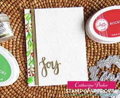 Joy Wreath Card with embossed background and wreath turned into a swag! www.cpstampofapproval.com