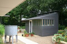 WORK - Potting Shed + Cistern — Matt Fajkus Architecture - Sustainable Residential and Commercial Architects in Austin, TX Workshop Shed, Faia, Outdoor Spaces, Outdoor Decor, Outdoor Art, Backyard Garden Design, Garden Studio, Shed Design, Cabins And Cottages
