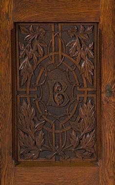 Panel from Cincinnati Art Carved Sideboard, by leading Cincinnati woodcarver Benn Pitman, ca. 1890