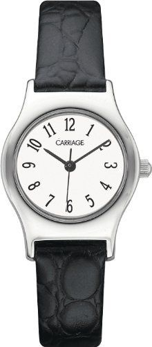 Carriage Women's C3C364 Silver-Tone Round Case White Dial Black Croco Leather Strap Watch Carriage by Timex. $22.99. Arabic-numeral-display. Fashion-style. Analog-display. Round. Polished-finish
